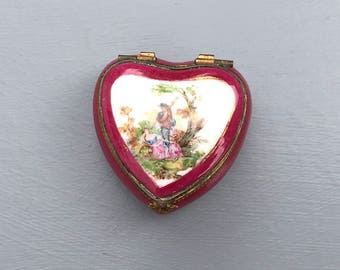 Limoges heart shaped trinket box; French porcelain box; Vintage porcelain; Red heart shaped box; Gift for her; Gift idea