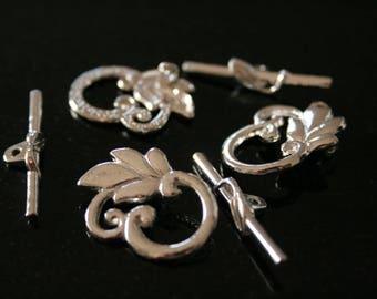 "5 clasps ""toggle"" in silver non distressed. (ref:1812)."