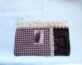 Pocket fabric zippered multi-use married and plum Plaid lace and vintage retro old