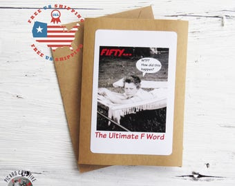 Funny 50th Birthday Greeting Card- Fifty the Ultimate F word Kraft Card Stock- Blank Inside FREE US SHIPPING