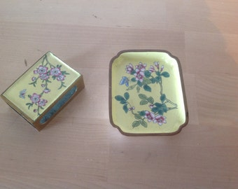 Vintage Chinese emanel on copper match holder and ash tray