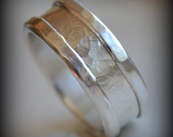 Men's ring - fine silver and sterling silver ring - handmade hammered artisan designed wedding or engagement band - customized