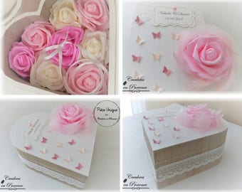 Box holder, white/grey with butterflies and roses - customizable