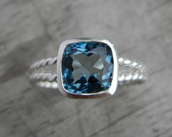 READY TO SHIP Size 7,Rapunzel Ring In London Blue Topaz and Sterling Silver