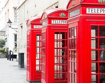 English Red Telephone Box Photos, London Red Phone Box Wall Art, London Street Photography, Romantic London Photography, London Photo Prints