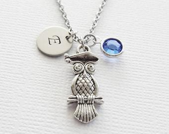 Wise Owl Necklace Owl Bird Woodland Graduation Jewelry Swarovski Birthstone Silver Initial Personalized Monogram Hand Stamped