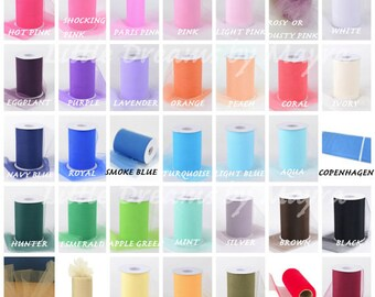 100 yards TULLE ROLL available in 35 colors, 6''inchesx100yards tulle roll spool