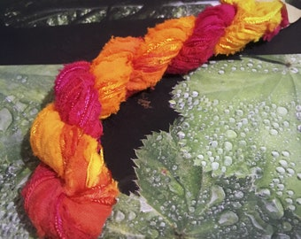 Hand Dyed 20 meters of Assorted Cotton and Rayon Needlecraft Embroidery Threads