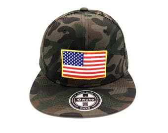 U.S.A American flag SnapBack Flat Brim camouflage summer cap hat vith velcro Army colored with replacable patch. Best gift for patriot