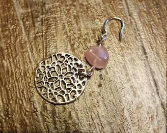 Rose Quartz mandala earrings