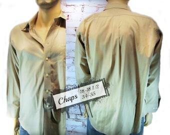 men's long sleeve shirt,men's dress shirt, men's tan shirt,men's suit shirt, size 18-18 1/2 neck / 34-35 sleeve ,   # 4