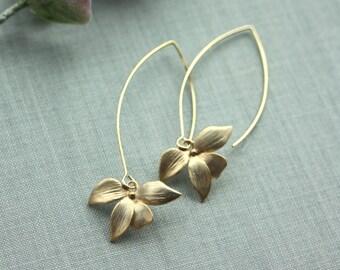 Gold Flower Earrings Long Dangle Earrings Wild Gold Orchid Long Marquise Earrings Gold Bridesmaids Minimalist Earrings Single Flower Earring