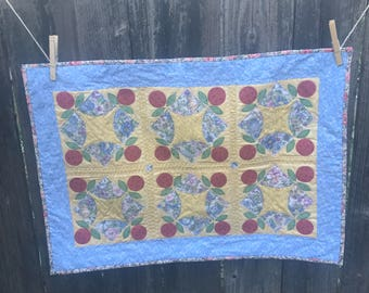 Blue & Yellow Applique Table Topper 25 x 18