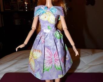 Cute purple butterfly print & sparkle dress for Fashion Dolls - ed1037