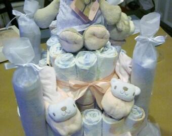 Girl Teddy bear diaper cake