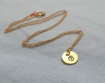 Initial Necklace, Gold Disc Necklace, Coin Necklace, Gold Circle Necklace, Gold Tag Necklace. Initial Disc,
