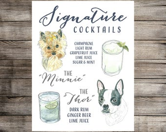 Signature Drink Sign with Custom Watercolor Pet Portrait