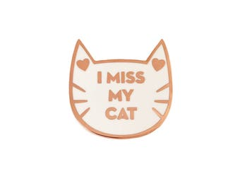 Cat Pin - I Miss My Cat enamel pin - black and gold lapel pin