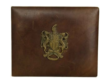 Leather Card Box. Bridge Playing Cards Deck Storage with Vintage Brass Dragon Coat of Arms. Card Player Gift For Him.