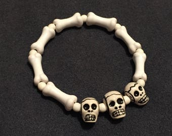 1 bracelet with skull and bones, beads handcrafted ceramic from Peru/skull bracelet, bone, inca, mexico, skeleton, Christmas, heavy metal, gothic, dark