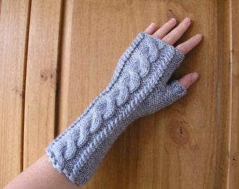 Hand Knitted Wrist Warmers / Fingerless Gloves