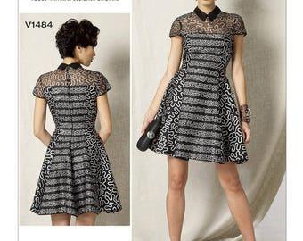 V1484 Designer Zandra Rhodes dress sewing pattern