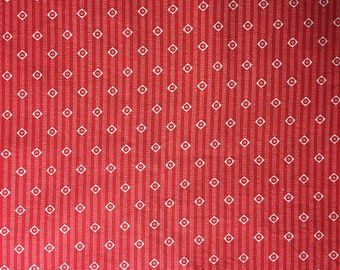 Fabric Remnant - Red cotton fabric with dotted stripes and white triangles