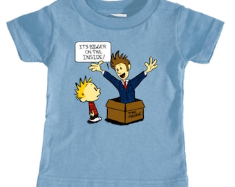 INFANT TEE --  Doctor Who Calvin and Hobbes Bigger on the Inside TARDIS Time Machine Tenth Doctor Top