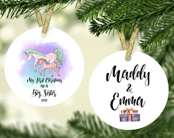 First Christmas as a Big Sister Ornament, Unicorn Christmas Ornament, Personalized Unicorn Ornament, Big Sister Ornament, Sister Ornament