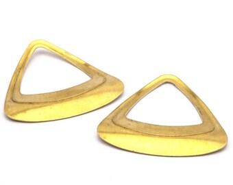 Brass Retro Triangle, 8 Raw Brass Triangles (32x32x32mm) Bs 1292