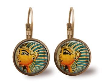 Tile Earrings Pharoah Earrings Egyptian Jewelry Brass Earrings Brass Jewelry Tile Jewelry Beaded Jewelry