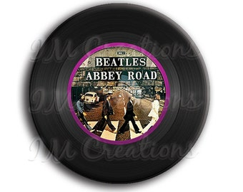 LIQUIDATION SALE! Vinyl Record Beatles Pocket Mirror, Magnet or Pinback Button - 2.25""