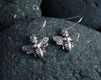Bee Earrings Honey Bee Earrings Bee Jewelry Silver Gold Bumble Bee Earrings Bee Lover Gift Insect Jewelry Birthday Gifts for Her