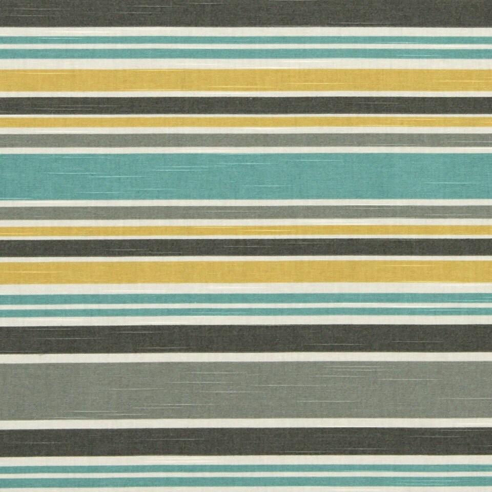 Aqua Yellow Grey Striped Upholstery Fabric Custom Grey