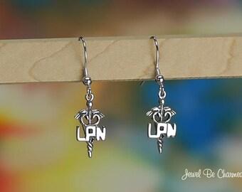 Sterling Silver LPN Earrings Fishhook .925 Licensed Practical Nurse