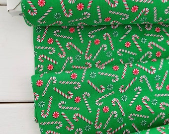 Joy - Candy Canes(Green Background) - Bread and Butter - Windham Fabric