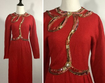 Red Sweater Dress - Beaded and Sequin Applique Neckline, Bust, Waist - Bright Red Knit - Gold Beading and Rhinestones - Vintage 80s Medium