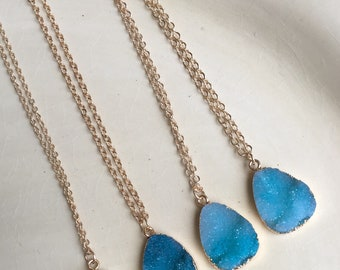 Turquoise Druzy on adjutable gold chain