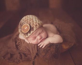 Brown Beige Cream Baby Button Hat Newborn Photography