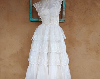 Vintage 1950s Wedding Gown 50s Bridesmaid Dress Organza Eyelet