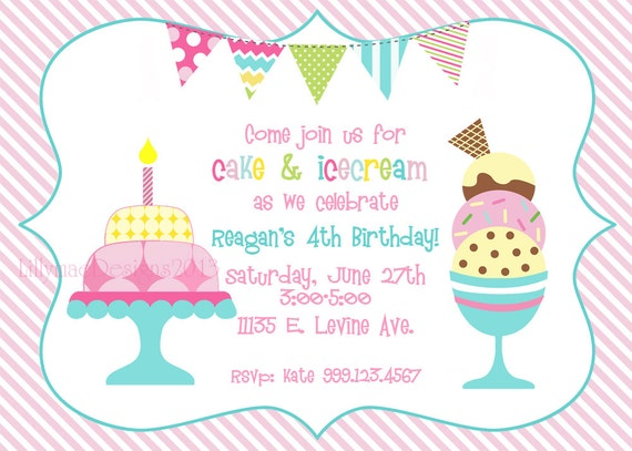 Cake and ice cream birthday party invitation digital file filmwisefo