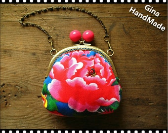 Rose candy  Peony clutch purse / coin purse / Wallet / pouch / kiss lock frame purse bag-GinaHandMade
