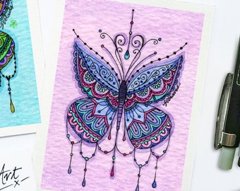 Mini Mandala Butterfly (lilac/periwinkle) Print - ACEO size- HALF PRICE