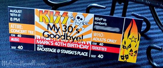 Birthday invite rocker party concert ticket invite kiss birthday invite rocker party concert ticket invite kiss my 30s goodbye rocker happy birthday invite invitation design filmwisefo Images