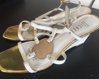 Vintage Nickels white Patent Leather Strappy Wedge Sandals 7 M