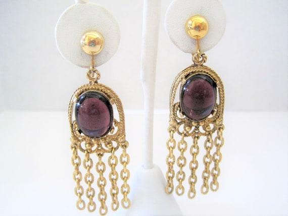 Amethyst Glass Earrings, Purple Dangles, Gold Tone Tassels, Chandelier Clip Earrings