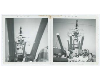 "Set of 2 Vintage Snapshot Photos: ""The USS New Jersey at Long Beach, June 1968"" (75579)"