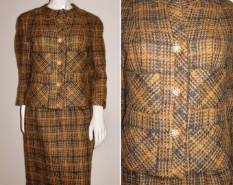 Vintage 1960s Tailored by Handmacher Suit with Gorgeous Buttons and Details
