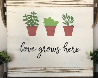 Hand-Painted Wood Sign - Love Grows Here - CLEARANCE