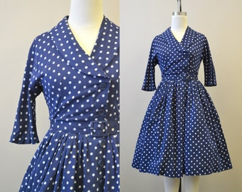 1950s Navy and White Polka Dot Dress